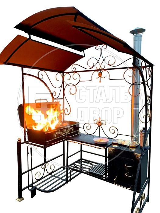 """Мангал с крышей, печью и крышкой барбекю """"Симпозиум"""""""